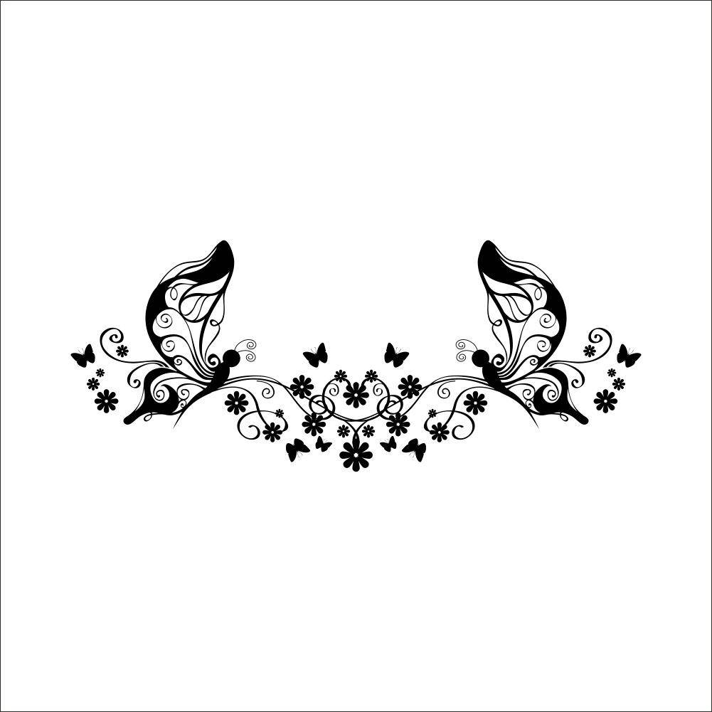 Butterfly Flower Vine Wall Art Decal Sticker Butterfly Fairy Wall Inside Latest Black And White Damask Wall Art (View 12 of 30)