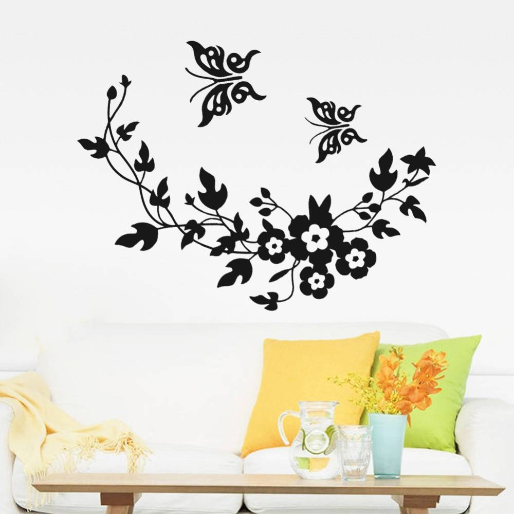 Butterfly Flowers Wall Sticker For Kids Room Bedroom Living Room Intended For Most Recent Diy 3D Butterfly Wall Art (View 8 of 20)