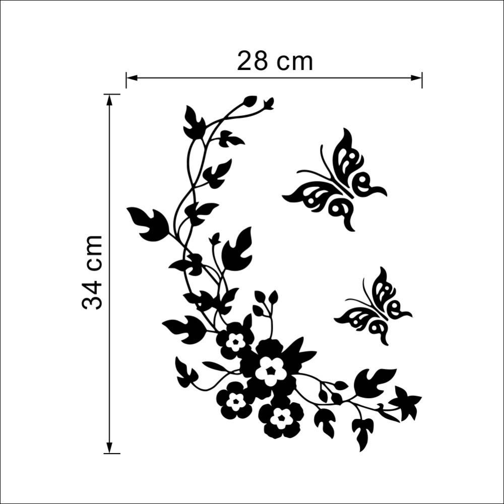 Butterfly Flowers Wall Sticker For Kids Room Bedroom Living Room With Regard To 2018 Diy 3d Butterfly Wall Art (View 6 of 20)