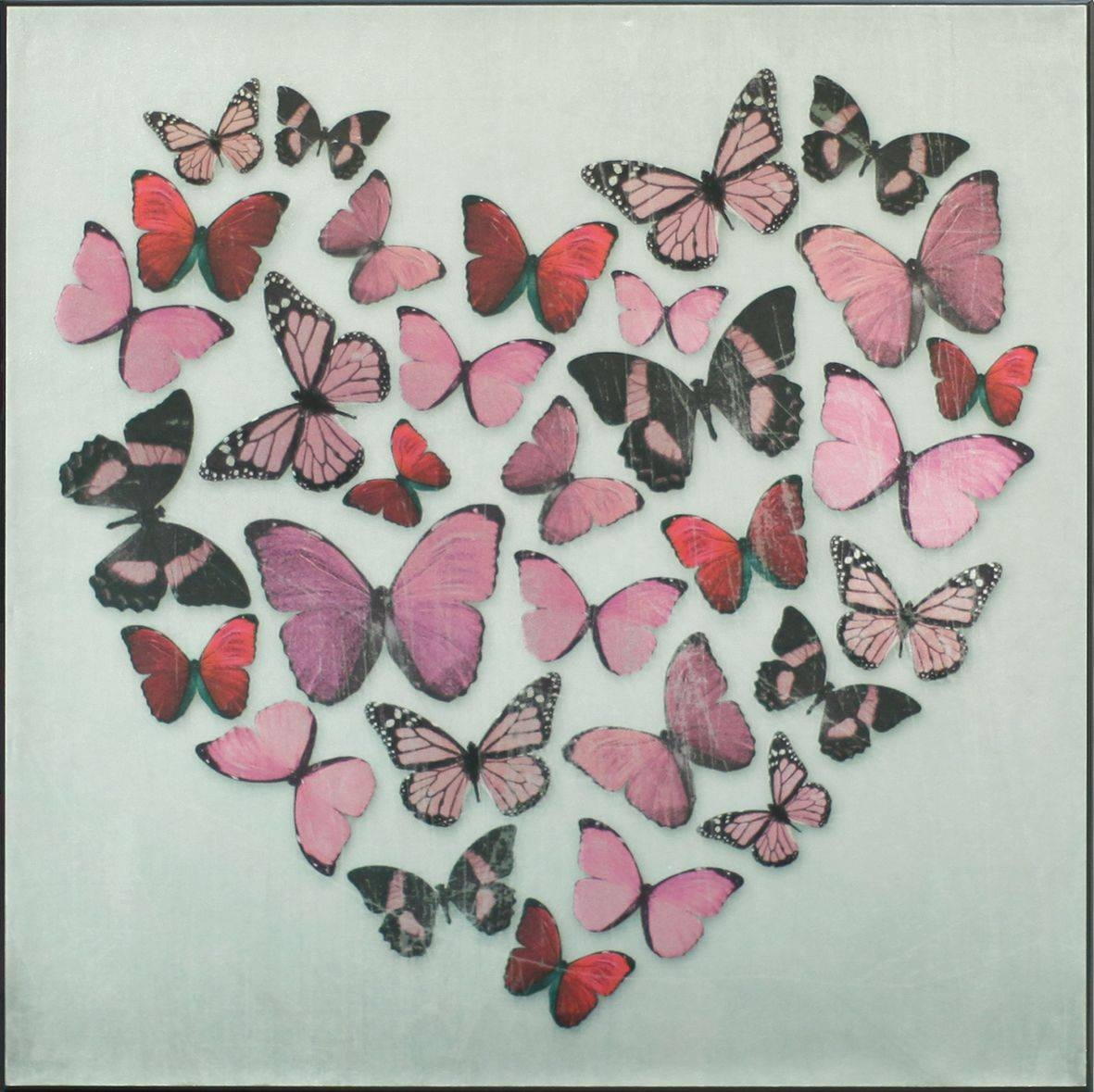 Butterfly Love Pink Superfoil Canvasarthouse : Wallpaper Direct Throughout 2017 Butterfly Canvas Wall Art (View 3 of 20)
