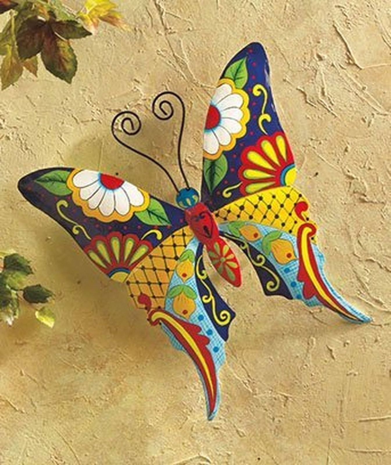 Butterfly Metal Wall Art Garden Mexican Talavera Style Colorful With Regard To Most Up To Date Mexican Metal Yard Wall Art (View 3 of 30)