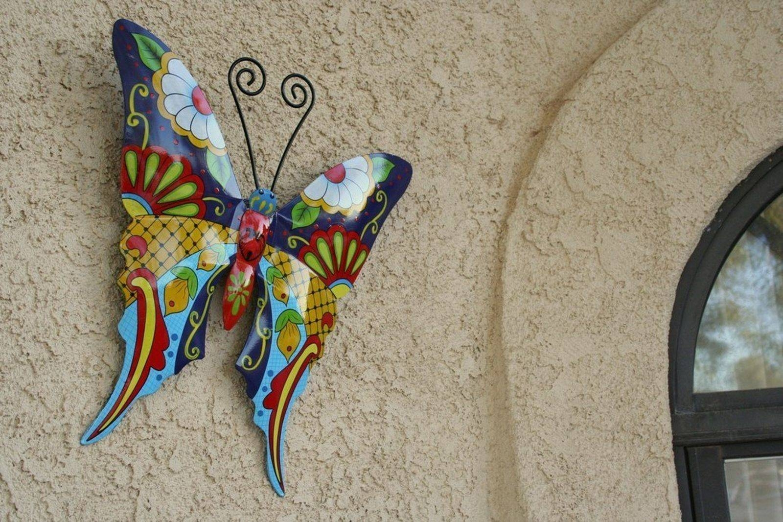 Butterfly Metal Wall Art Garden Mexican Talavera Style Colorful Within Most Recently Released Mexican Metal Yard Wall Art (View 7 of 30)