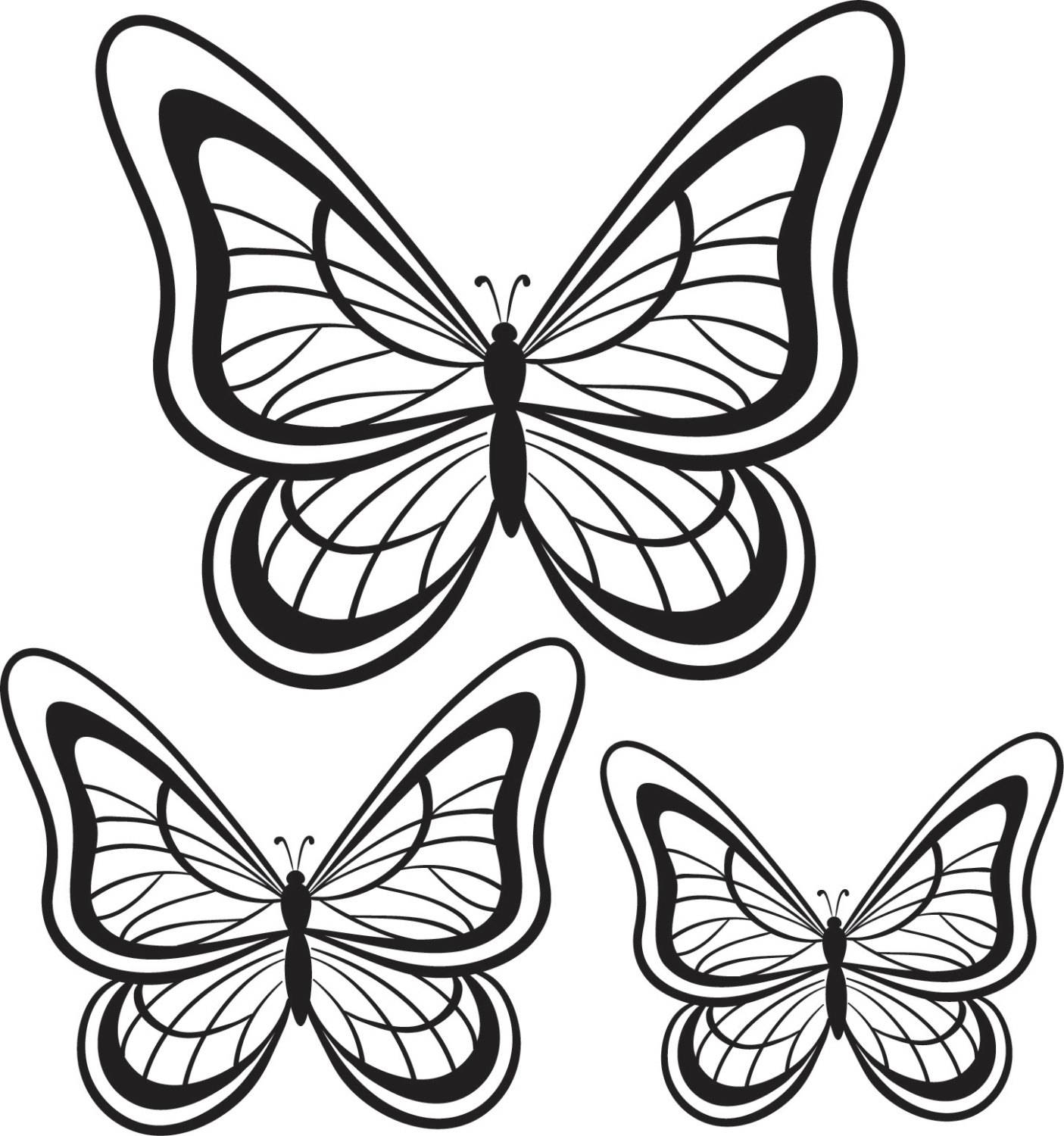Butterfly Wall Stickers Set Of 3 - Decals - Wall Tattoo - Wall Art pertaining to Recent Tattoo Wall Art