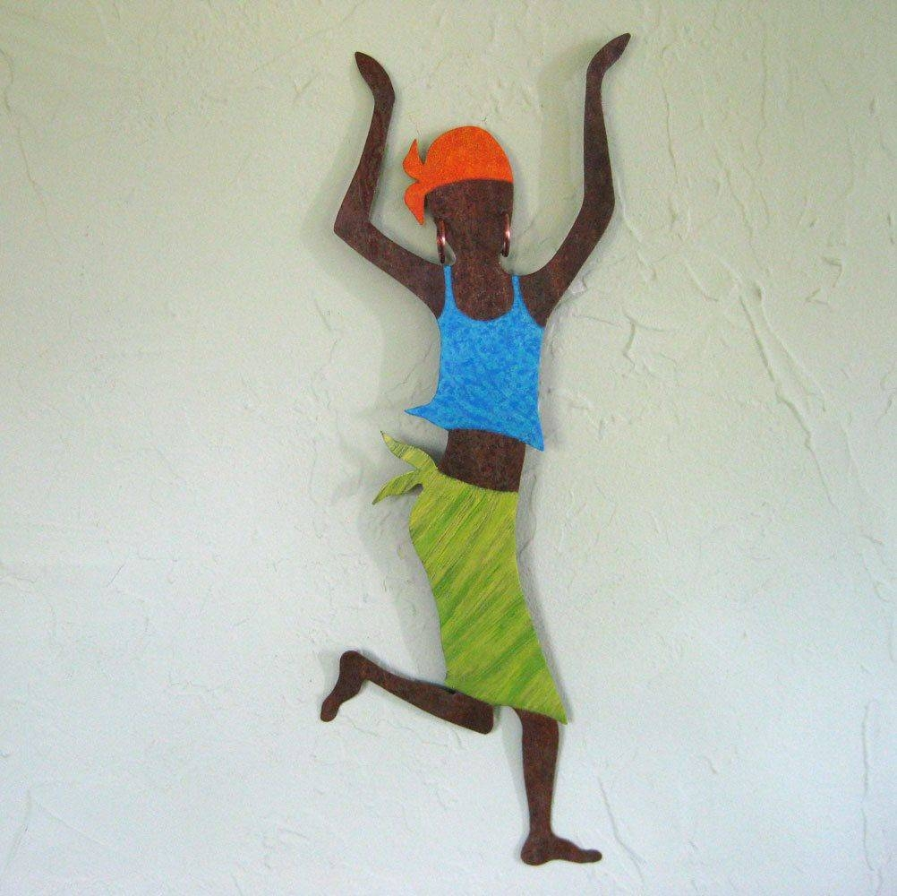 Buy A Hand Made Metal Art Wall Sculpture Caribbean Dancer Wall Intended For Latest African Metal Wall Art (View 6 of 30)