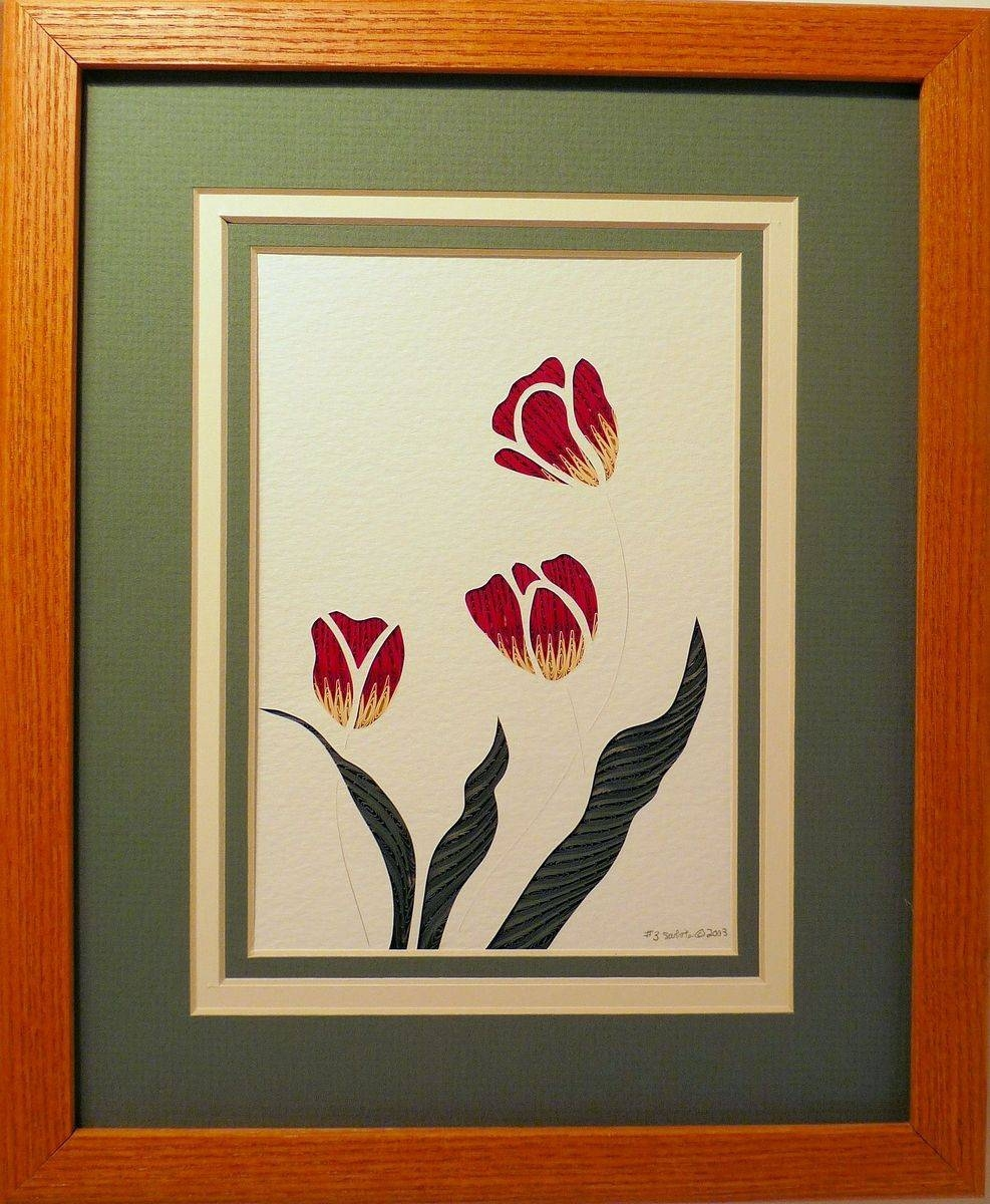 Buy Custom Flowers – Tulips Quilled Framed Wall Art New Hampshire With Best And Newest Filigree Wall Art (View 23 of 30)