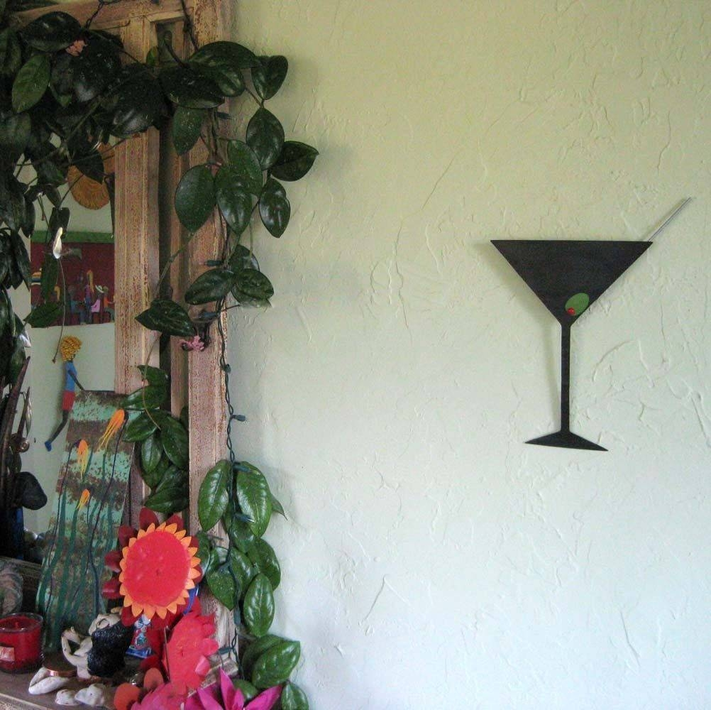 Buy Hand Crafted Metal Art Sculpture Martini Kitchen Art Upcycled In 2018 Martini Metal Wall Art (View 13 of 30)