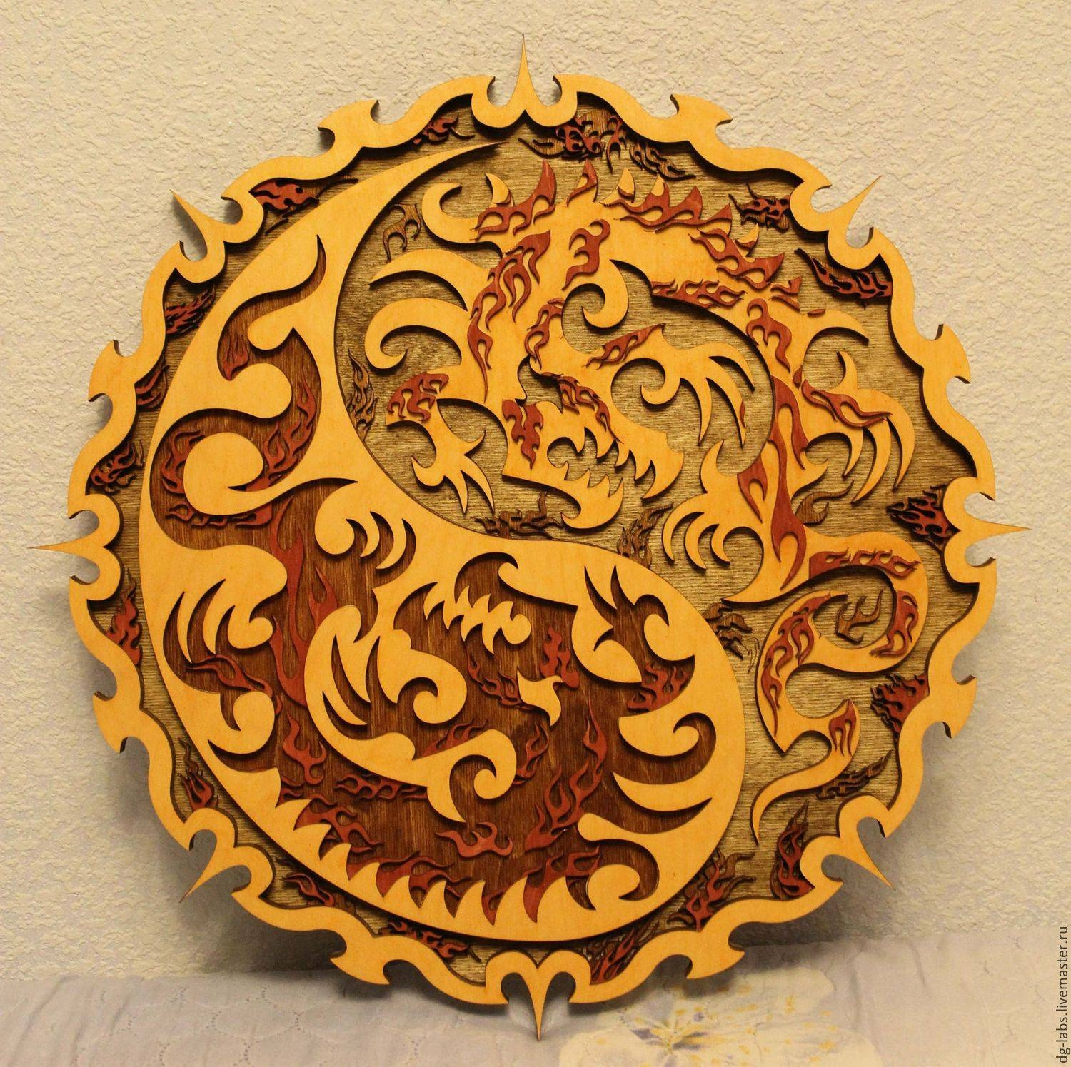 Buy Panels Of Dragons Yin Yang On Livemaster Online Shop Throughout Most Popular Yin Yang Wall Art (View 6 of 30)