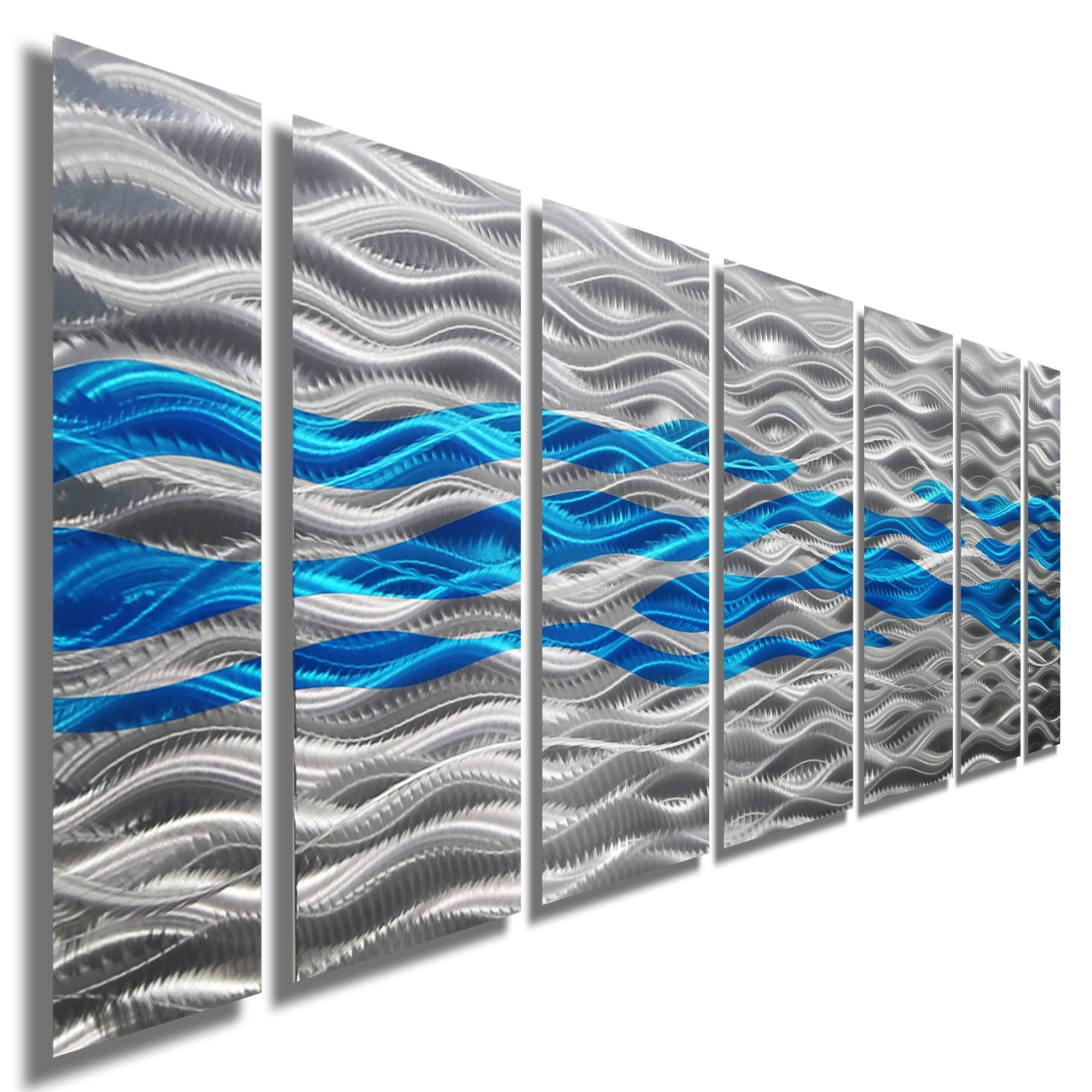 Caliente Aqua – Silver & Aqua Blue Abstract Metal Wall Artjon With Best And Newest Blue And Silver Wall Art (View 13 of 20)