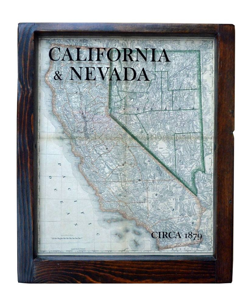 California And Nevada Map Wall Art – Reproduction 1879 Antique Map Inside Recent Map Wall Art (View 4 of 25)