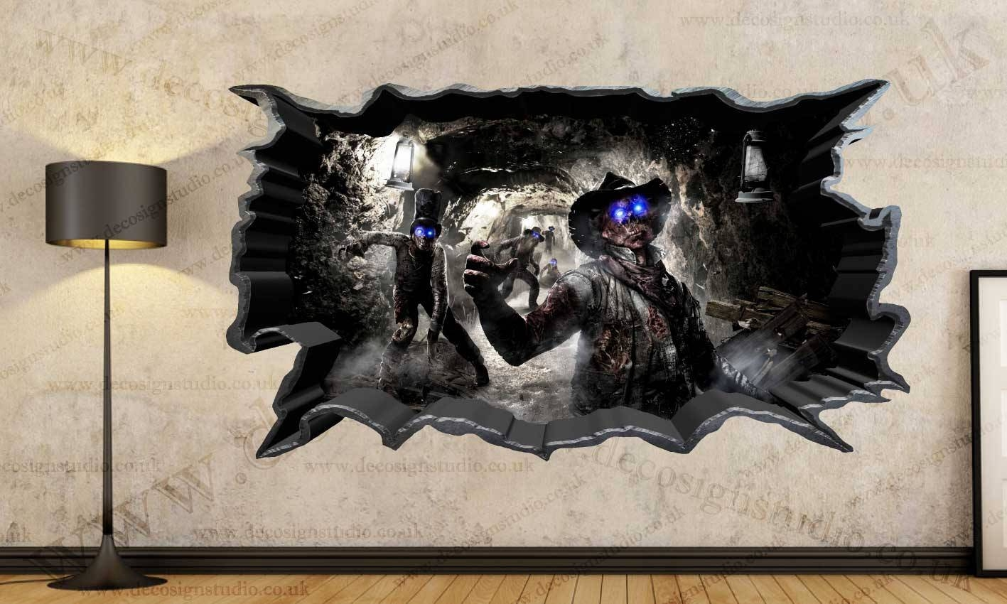 Call Of Duty Zombies 3d Cracked Wall Effect Wall Sticker Art Pertaining To Most Popular Batman 3d Wall Art (View 18 of 20)