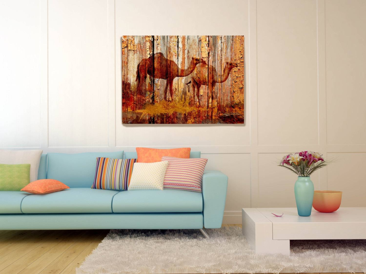 Camels On Wood Plank Canvas Wall Art Print Large Camel Canvas Pertaining To 2017 48X48 Canvas Wall Art (View 11 of 20)
