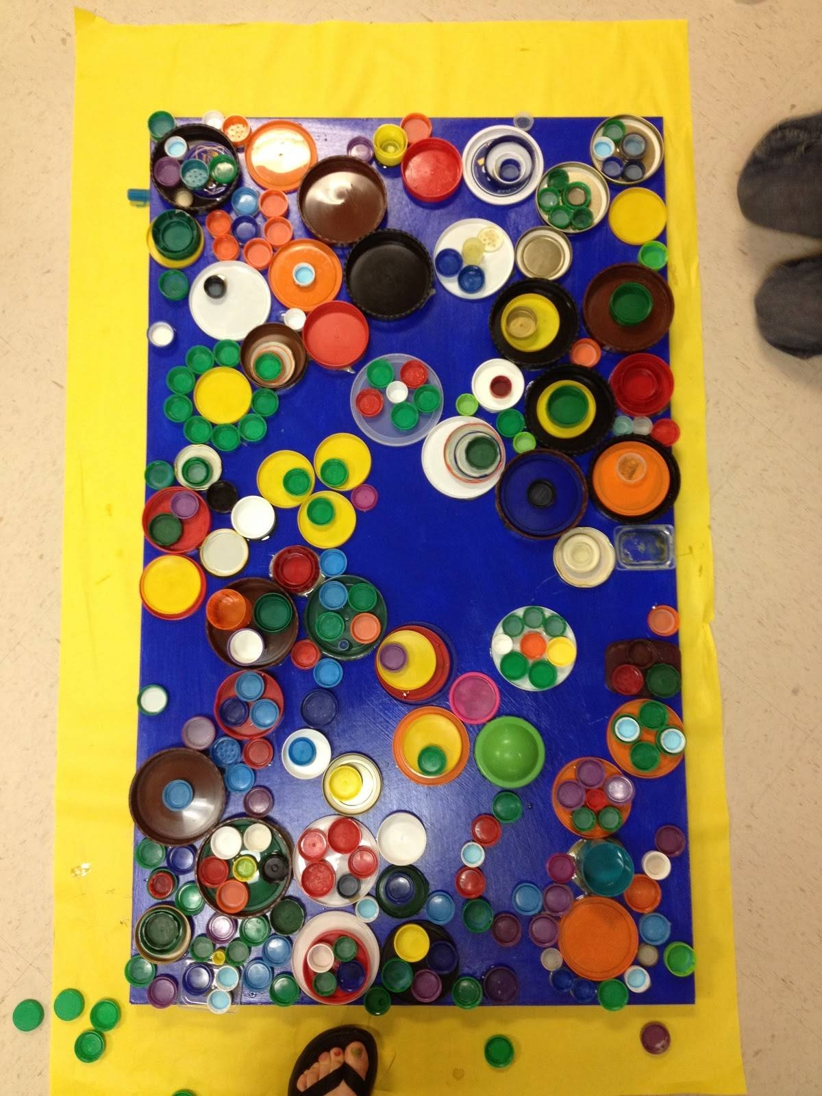 Candice Ashment Art: Reduce*reuse*recycle Bottle Lids Wall Art Pertaining To Newest Recycled Wall Art (Gallery 10 of 30)