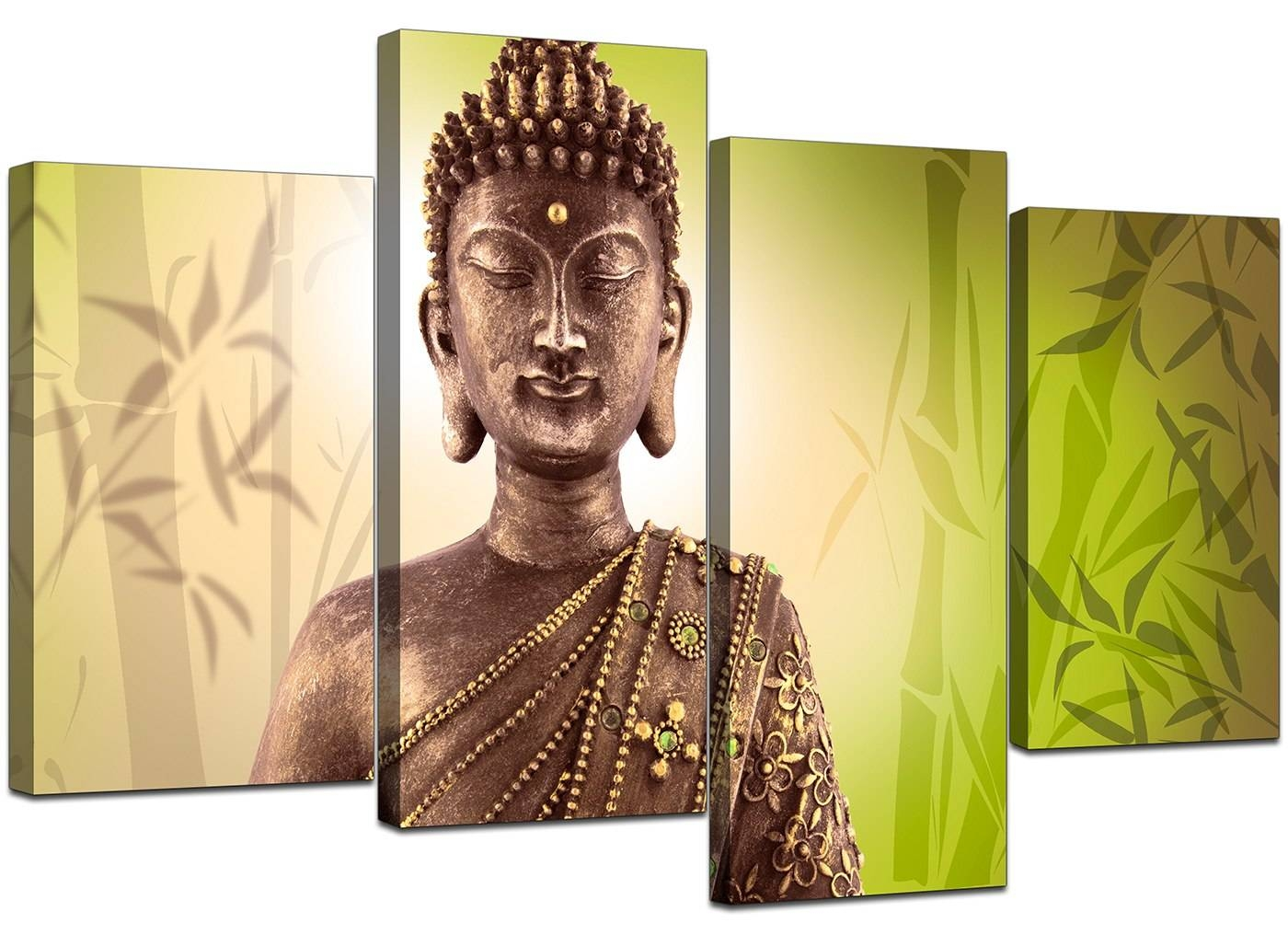 Canvas Art Of Buddha In Green For Your Living Room regarding 2018 Large Buddha Wall Art