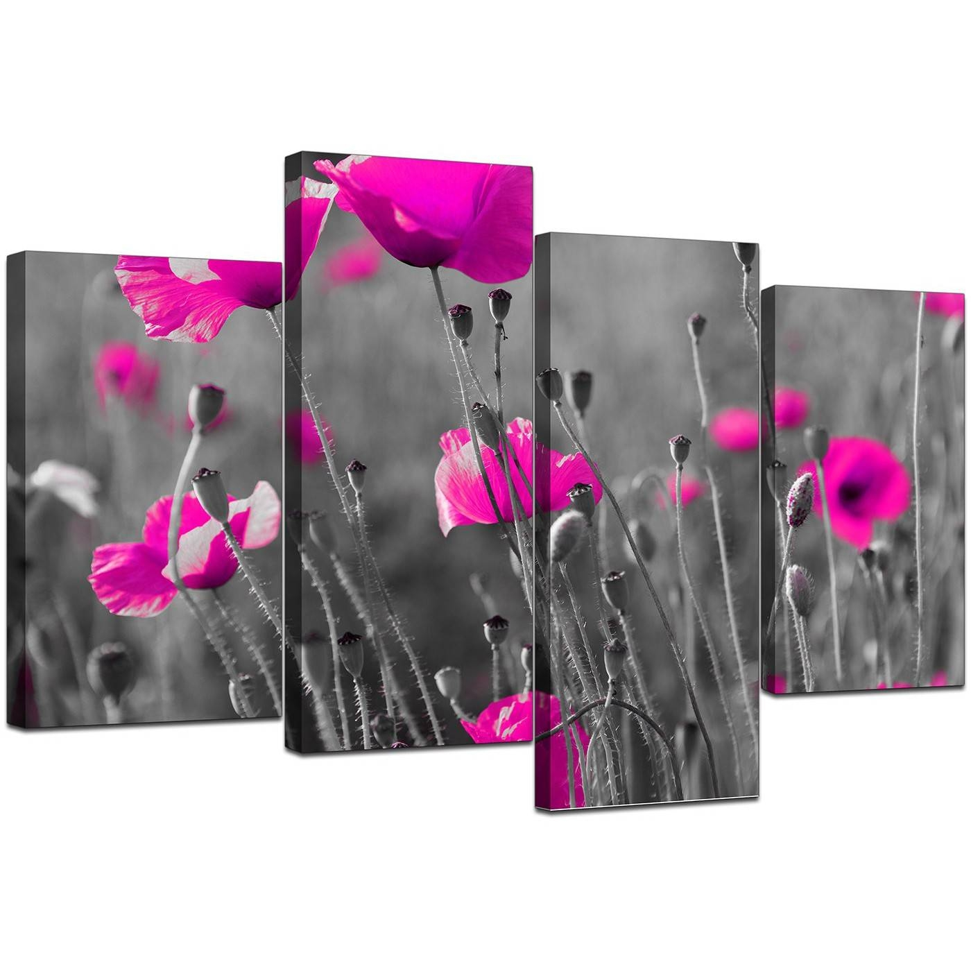 Canvas Art Of Pink Poppies In Black & White For Your Girls Bedroom Intended For Most Recently Released Pink Flower Wall Art (View 7 of 20)