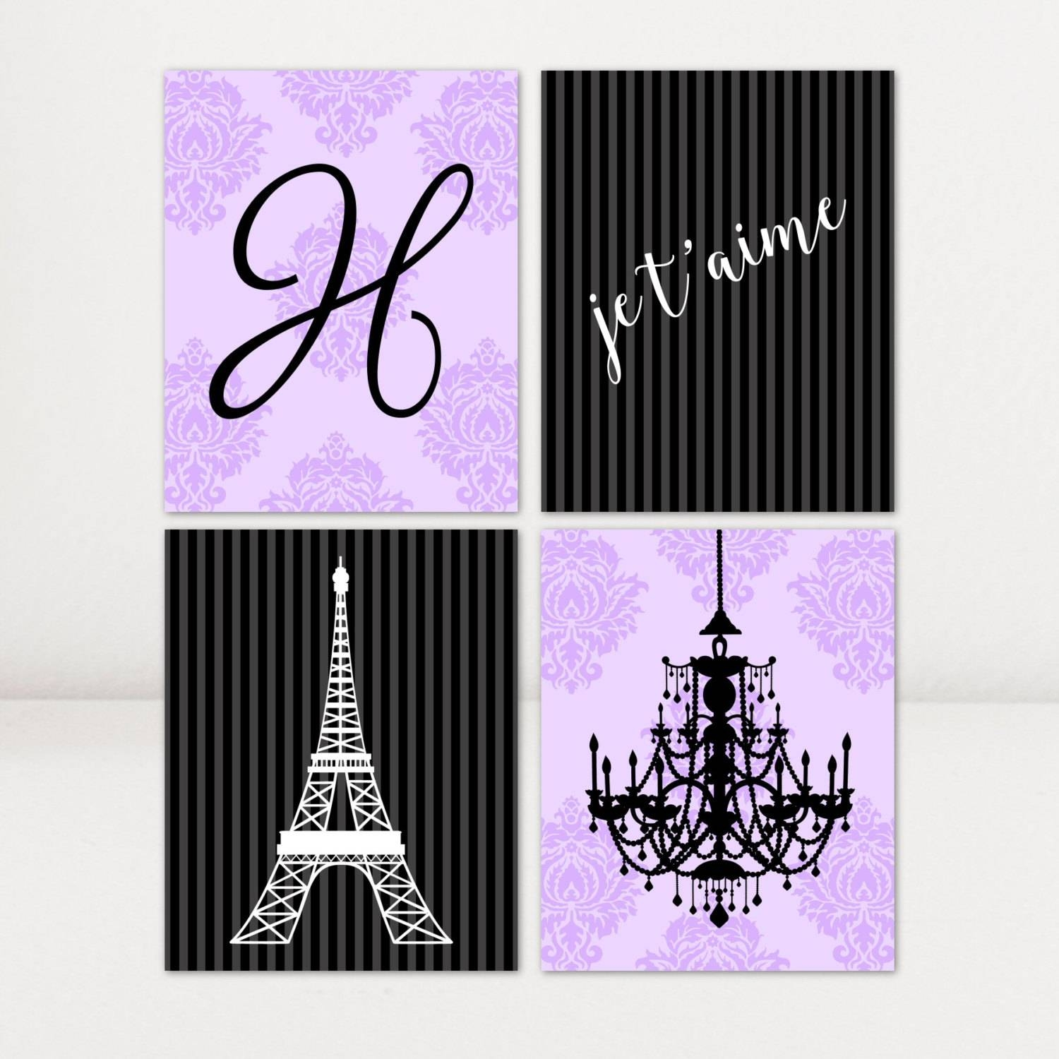 Canvas Art Paris Theme Purple Personalized Girls Room Set Of 4 Throughout Most Current Paris Theme Wall Art (View 6 of 30)