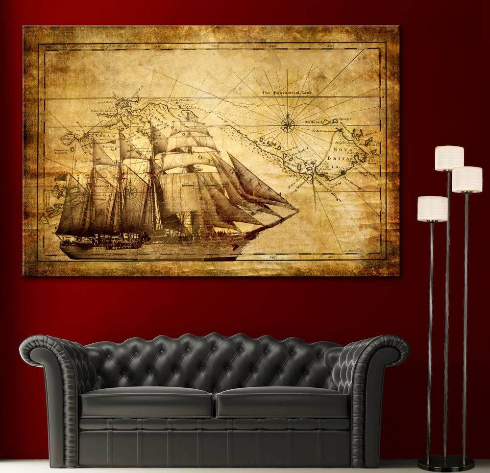 Canvas Home Wall Art Print Sail Ship Map Decor Vintage Boat In Most Popular Vintage Map Wall Art (View 3 of 20)