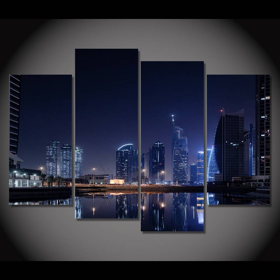 Canvas Painting 4 Piece Canvas Art Dubai City Lights Night Hd Inside Most Recent Wall Art For Bar Area (View 7 of 20)