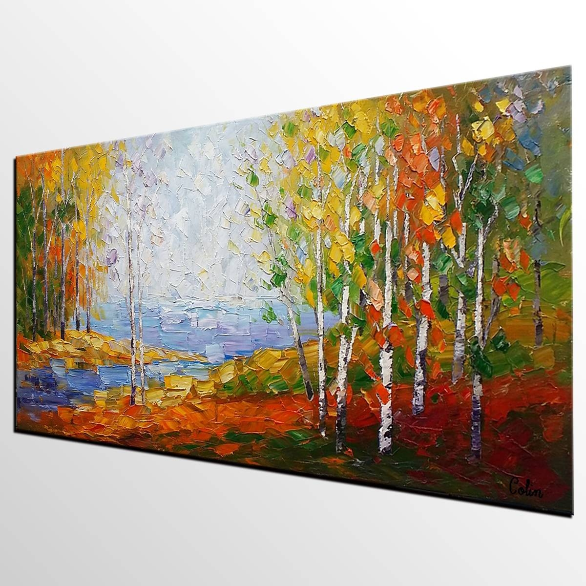 Canvas Painting, Bedroom Wall Art, Landscape Painting, Large Art Regarding 2018 Canvas Landscape Wall Art (View 18 of 20)