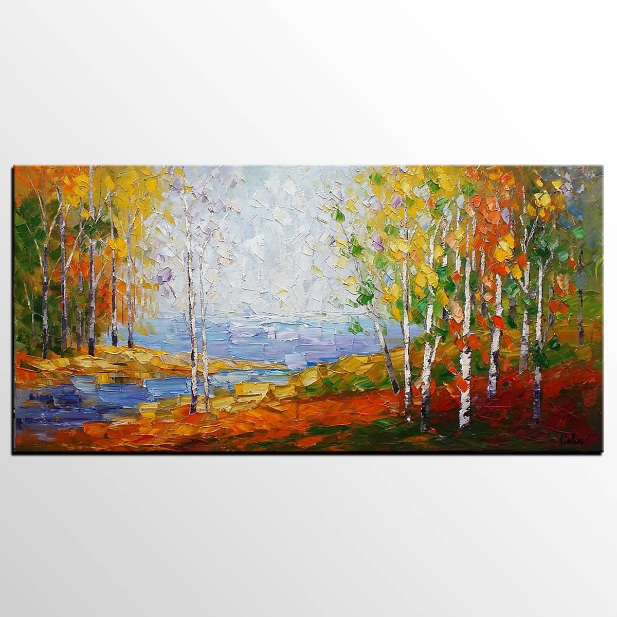 Canvas Painting, Bedroom Wall Art, Landscape Painting, Large Art Within Most Current Canvas Landscape Wall Art (View 8 of 20)