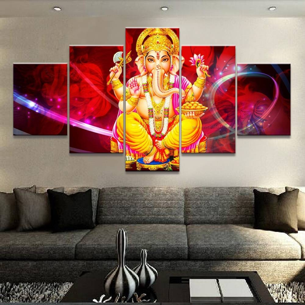 Canvas Painting Framework Elephant God Picture Wall Art Home Regarding Newest Ganesh Wall Art (View 10 of 20)