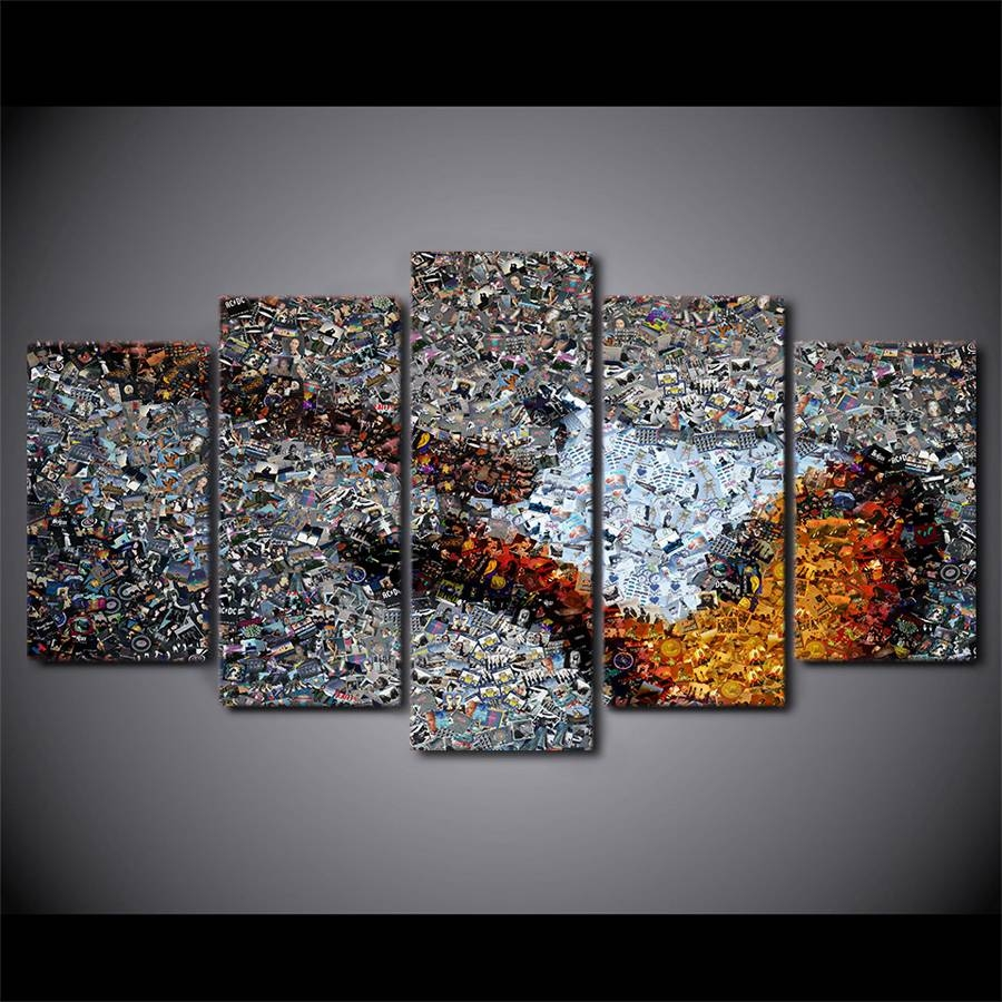 Canvas Painting Printed 5 Pieces Synthesis Guitar Abstract Wall Throughout 2017 Abstract Wall Art (View 14 of 15)