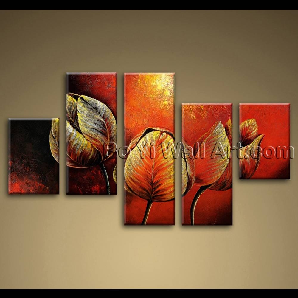 Canvas Painting Tulip Flowers Red Abstract Wall Art Framed For 2018 Abstract Wall Art (View 8 of 15)