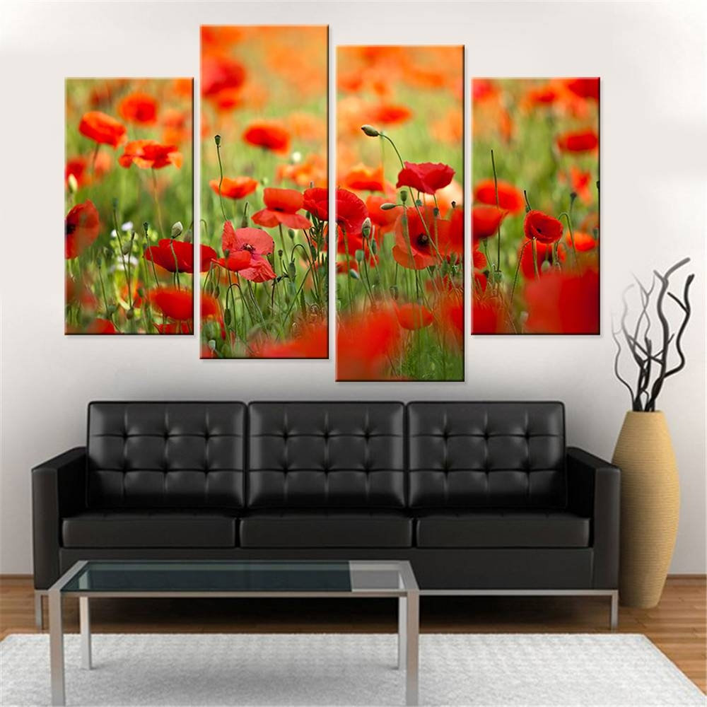 Canvas Painting Wall Art Red Poppy Flower – Legionca Throughout Current Red Poppy Canvas Wall Art (View 2 of 20)