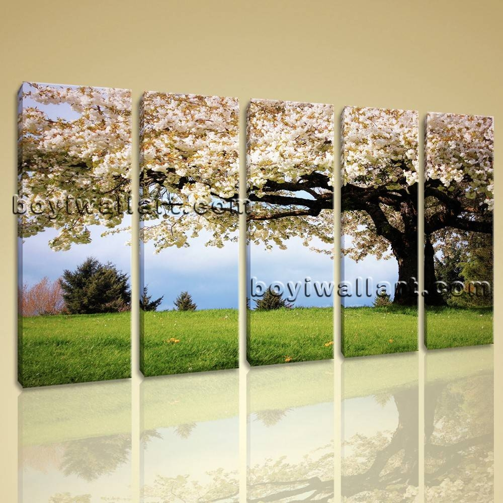 Canvas Print Landscape Cherry Blossom Tree Gallery Wrapped Wall Throughout Latest Big Canvas Wall Art (View 4 of 20)