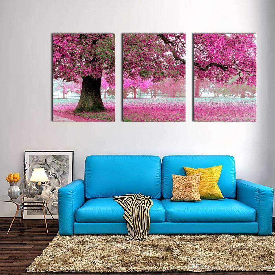 Canvas Print Wall Art Painting For Home Decor Purple Flowers At Throughout Most Popular Purple Wall Art Canvas (View 6 of 20)