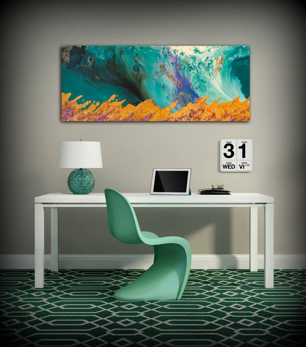 Canvas Print Wall Decor Large Abstract Wall Art Teal And Orange Regarding Most Recently Released Large Teal Wall Art (View 7 of 20)