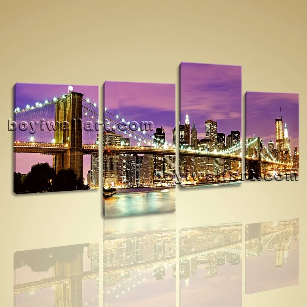 Canvas Prints Cityscape New York Night Brooklyn Bridge Framed Wall Art Inside Newest Cityscape Canvas Wall Art (View 3 of 20)