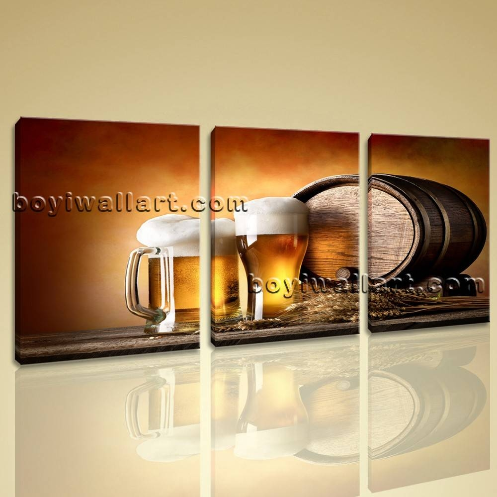 Canvas Prints Food And Beverage Beer Contemporary Home Decor Wall Art Inside 2018 Huge Canvas Wall Art (View 6 of 15)
