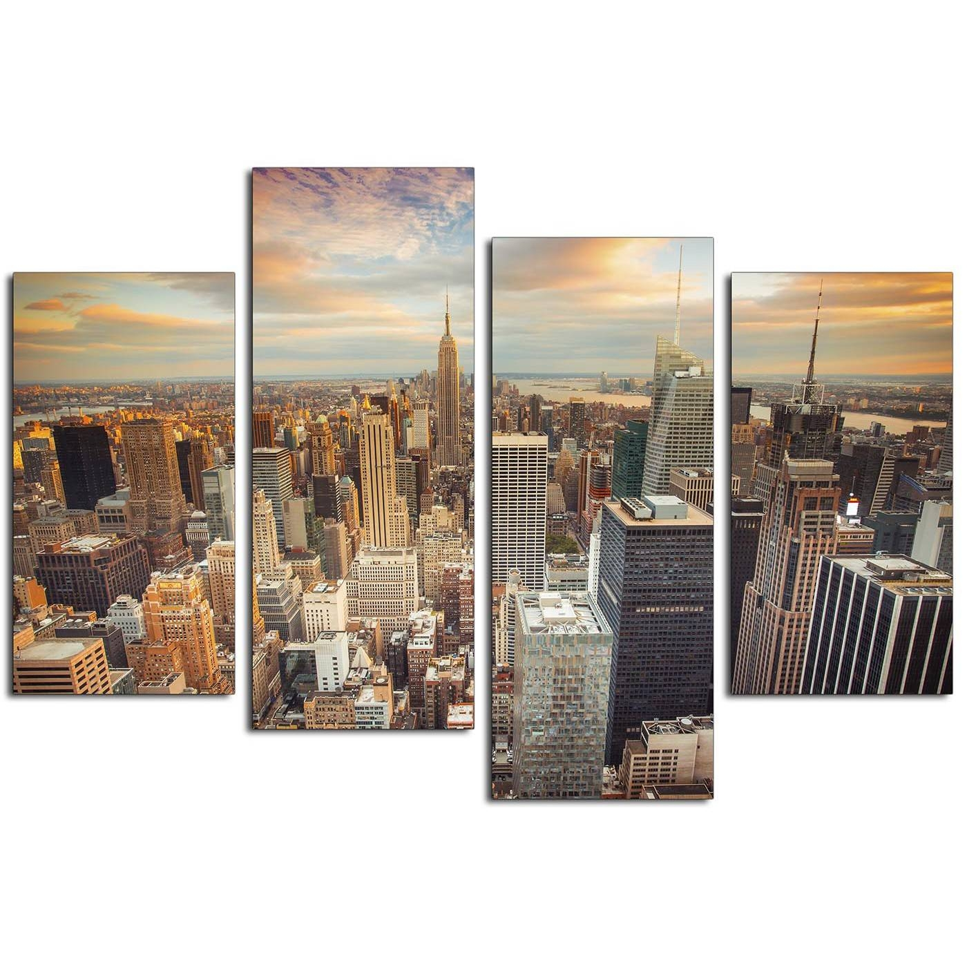 Canvas Prints Of The New York Skyline For Your Living Room – 4 Panel Pertaining To Most Popular New York City Canvas Wall Art (View 5 of 20)