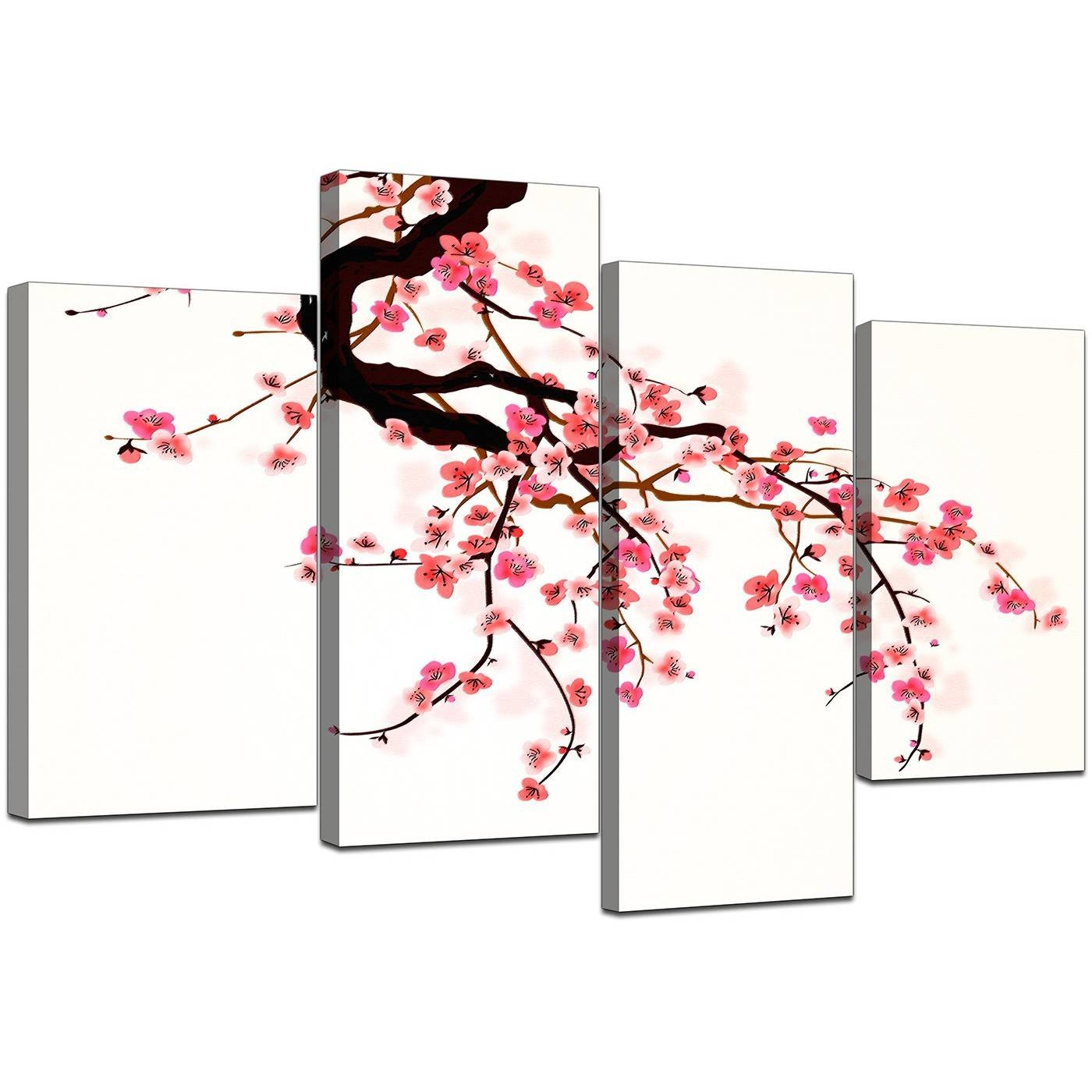 Canvas Prints Uk Of Cherry Blossom For Your Living Room – Set Of 4 Inside 2017 Red Cherry Blossom Wall Art (View 30 of 30)