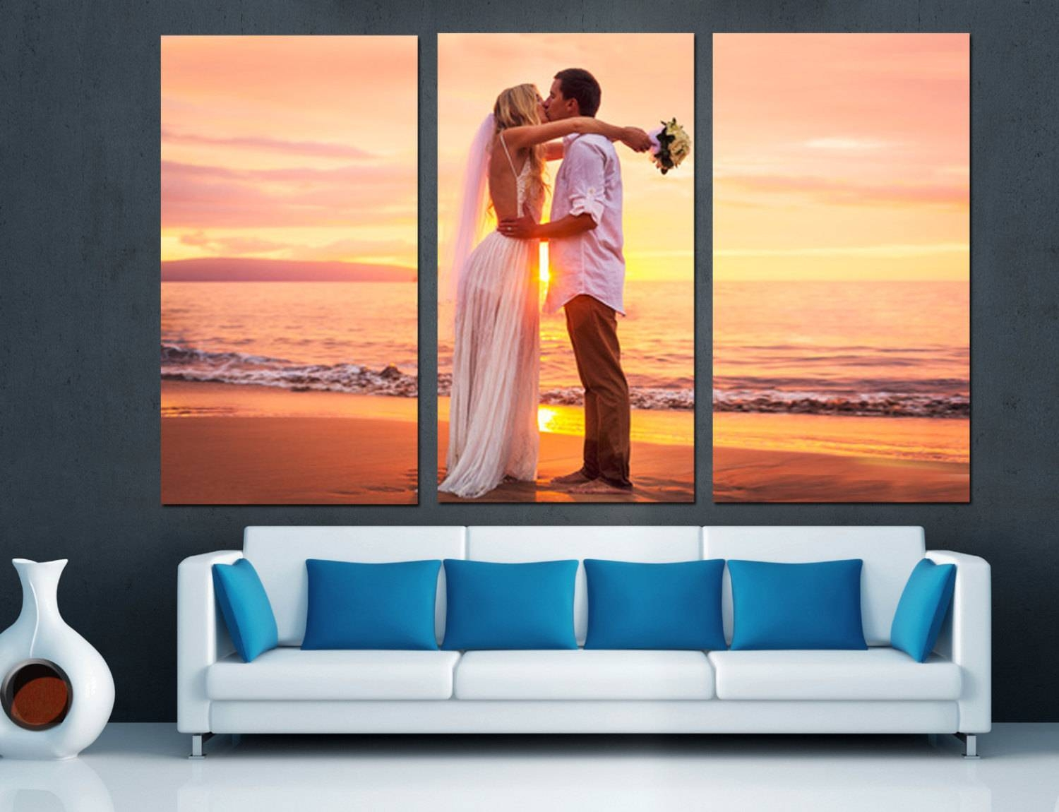 Canvas Split Wedding Anniversary Gift For Couples From Photos Throughout Most Recent Split Wall Art (View 10 of 20)