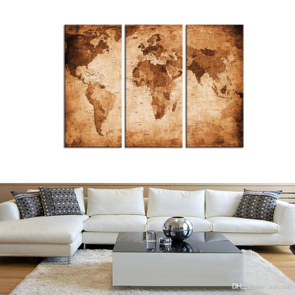 Canvas Wall Art 3 Panels Abstract Vintage World Map Brown Backpack Pertaining To Most Recently Released World Wall Art (View 4 of 20)