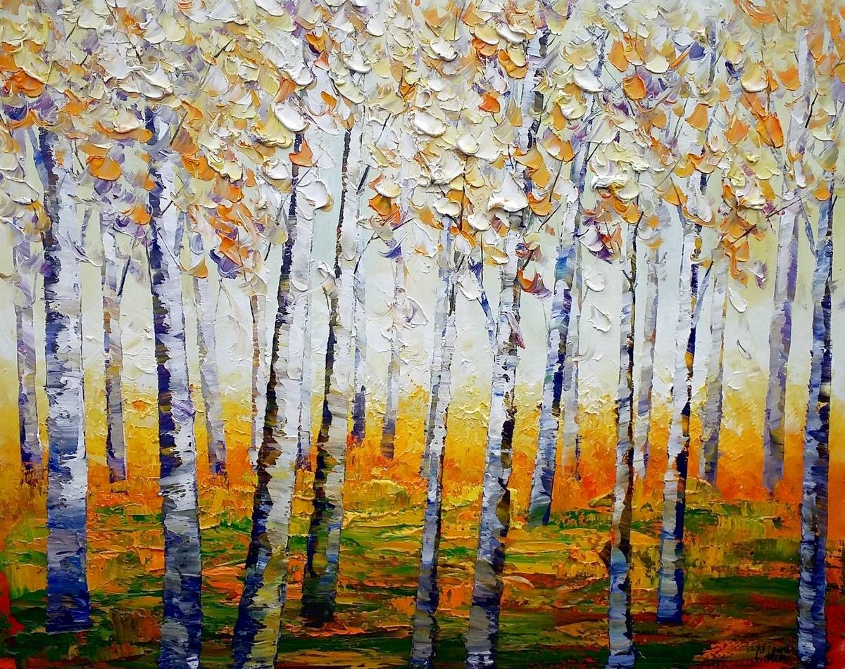 Canvas Wall Art, Abstract Landscape Art, Birch Tree Wall Art Intended For Most Popular Aspen Tree Wall Art (View 8 of 20)