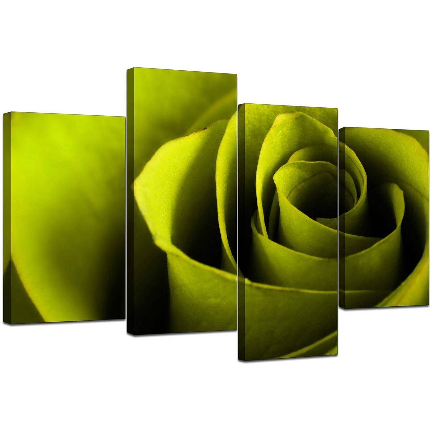 Canvas Wall Art Of A Rose In Green For Your Living Room With Recent Green Canvas Wall Art (View 2 of 20)