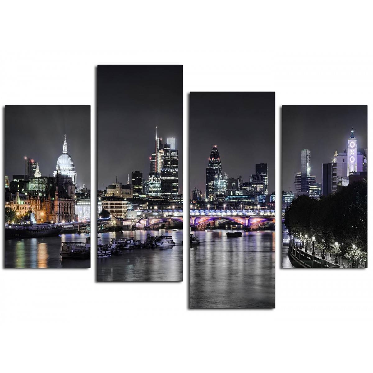 Canvas Wall Art Of London Skyline For Your Living Room – 4 Panel Pertaining To Most Recently Released Cityscape Canvas Wall Art (Gallery 14 of 20)