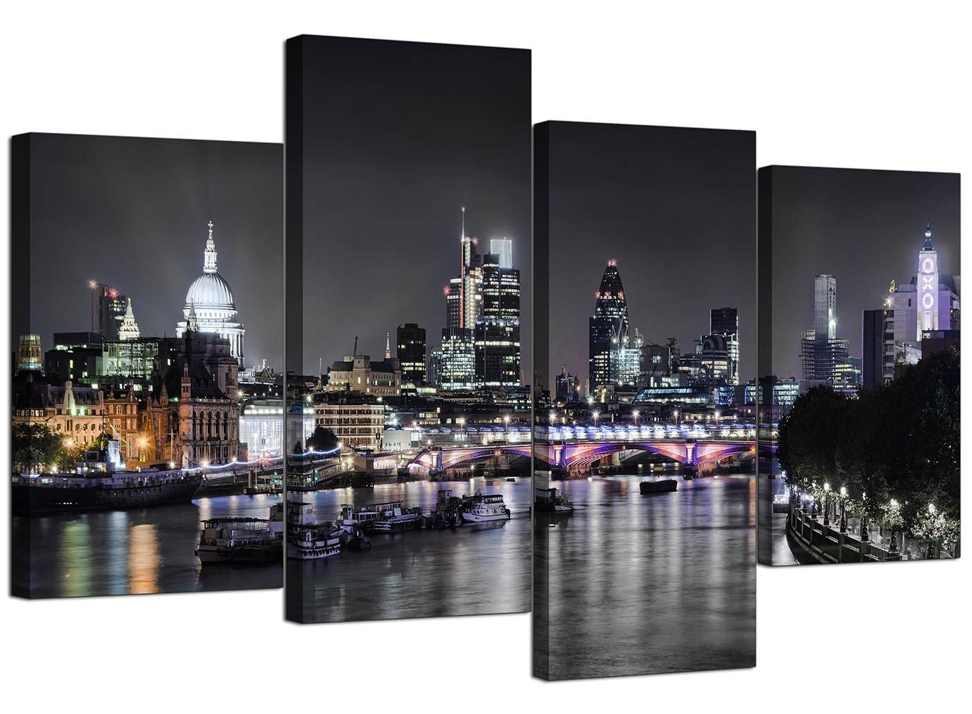 Canvas Wall Art Of London Skyline For Your Living Room – 4 Panel Within Current Cityscape Canvas Wall Art (View 5 of 20)