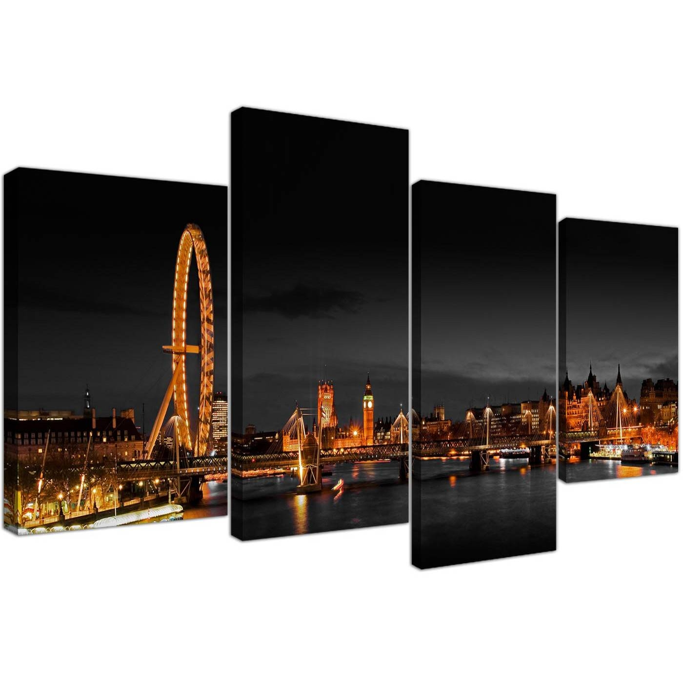 Canvas Wall Art Of Night Time London Eye For Your Office – Set Of 4 Throughout Most Popular London Scene Wall Art (View 3 of 20)