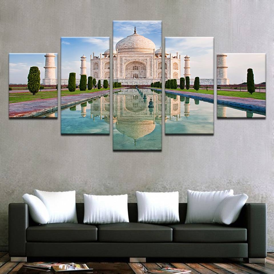 Canvas Wall Art Pictures Framework Home Decor Room 5 Pieces Taj In Most Up To Date Taj Mahal Wall Art (View 7 of 25)