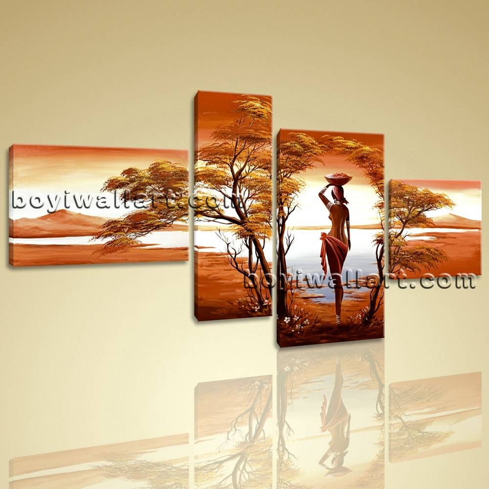 Canvas Wall Art Prints 4 Pieces Abstract Landscape Sunet Harvest Lady For Newest Huge Canvas Wall Art (View 3 of 15)