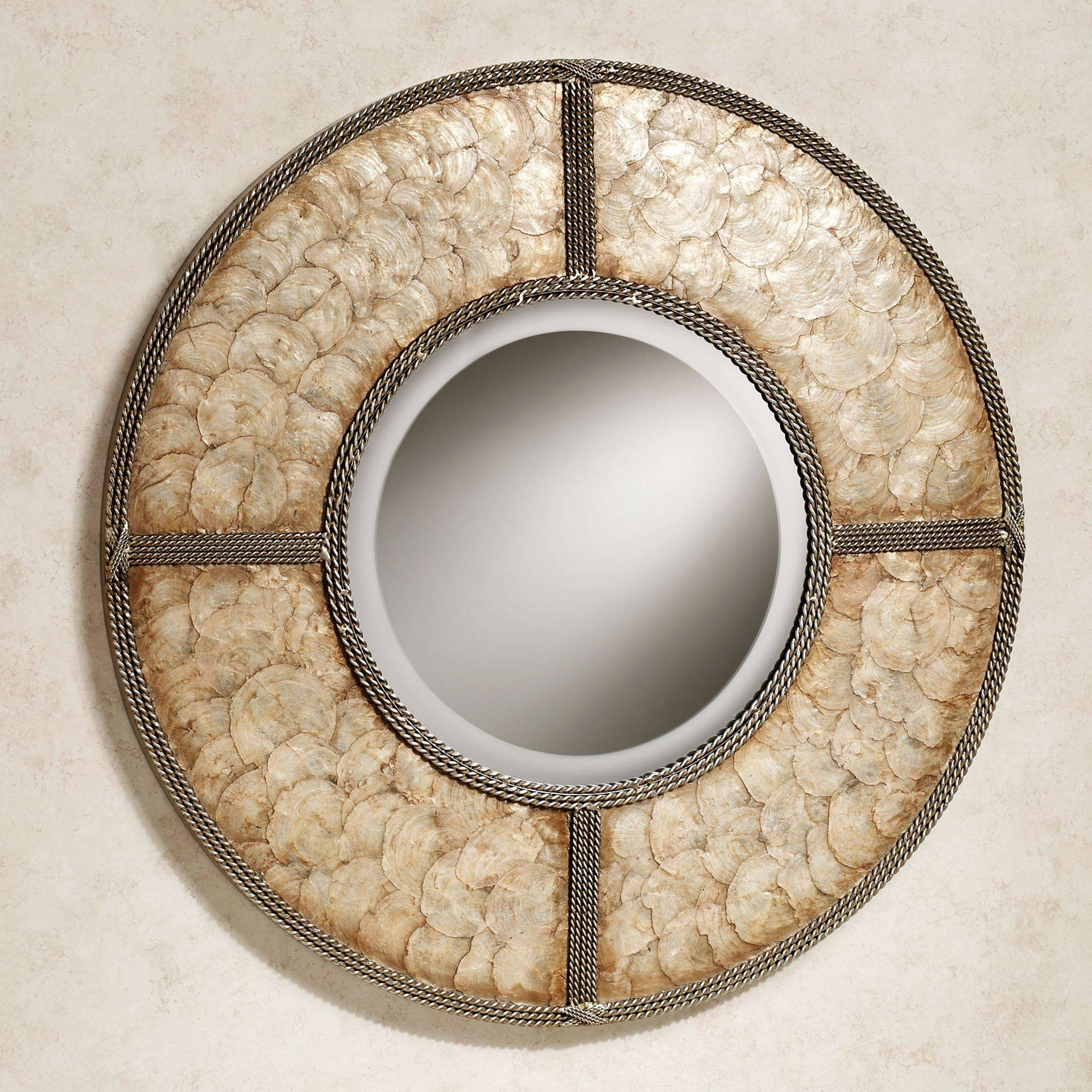 Capiz Shell Round Metal Wall Mirror Pertaining To Best And Newest Capiz Shell Wall Art (View 11 of 30)