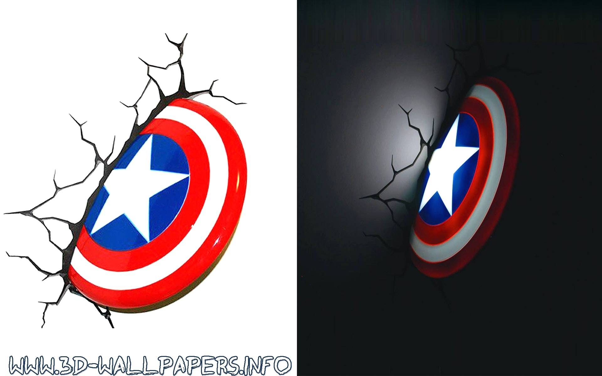 Captain America 3D Wall Light With Art Night Home Decor Ideas And With 2018 Captain America 3D Wall Art (View 14 of 20)