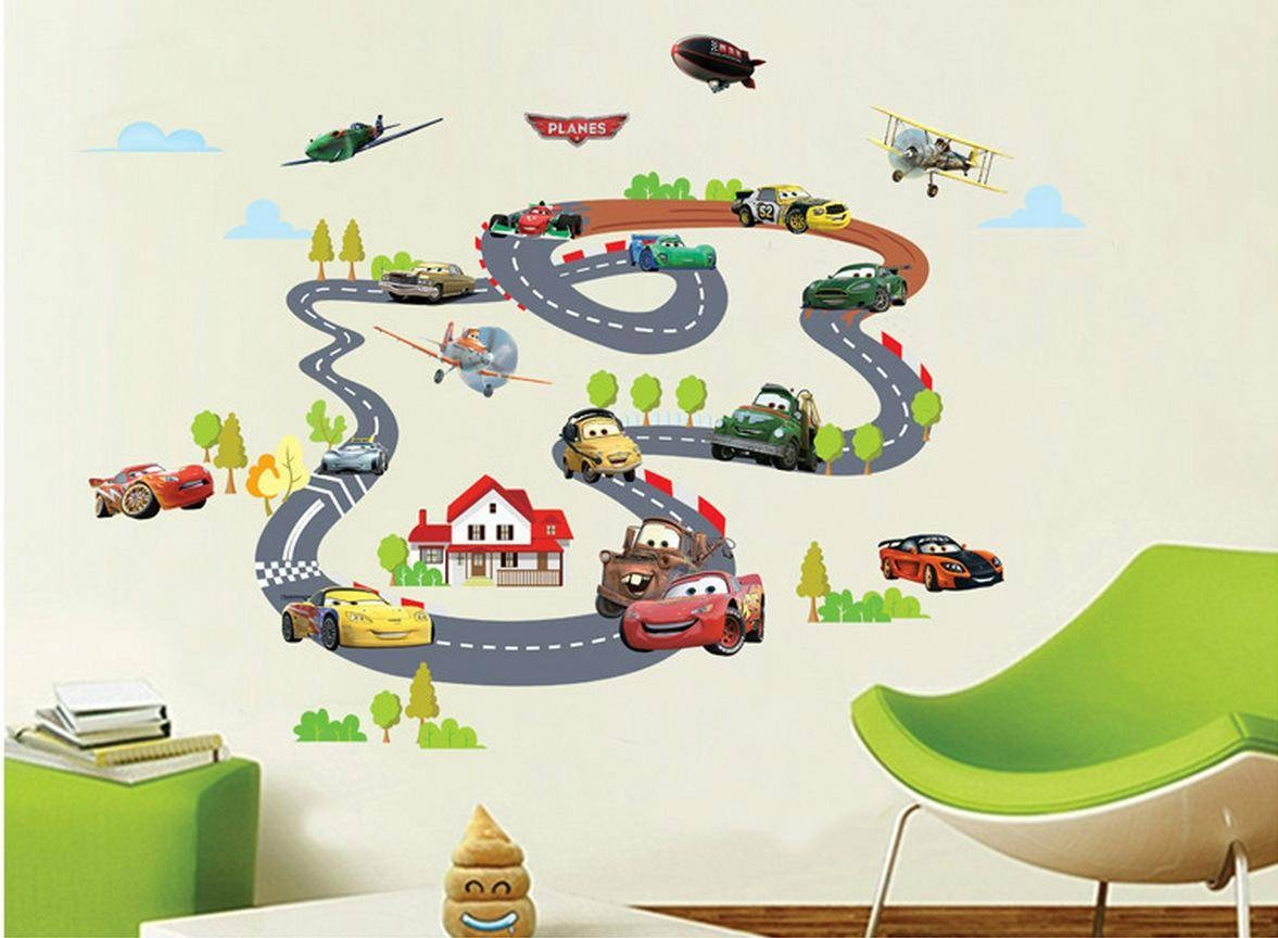 Car On Rail Racing Wall Art Decal Sticker Kids Room Nursery Mural With 2017 Wall Art Stickers For Childrens Rooms (View 6 of 20)