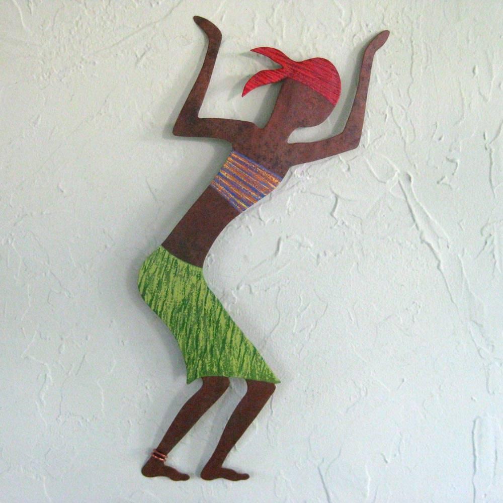Caribbean Dancer Metal Wall Art Sculpture Green And Red Inside 2018 African Metal Wall Art (View 7 of 30)