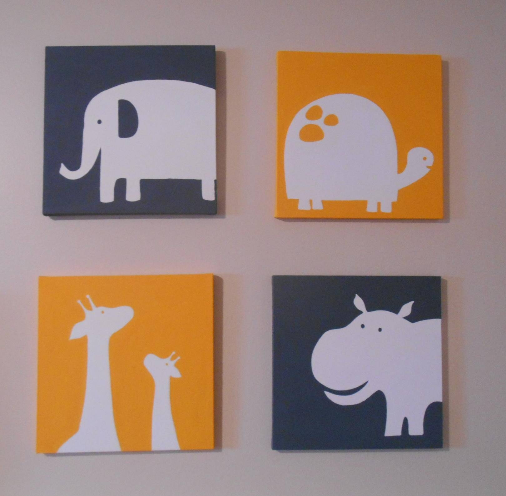 Carter's Inspired Zoo Animal Nursery Art Canvas Hand Painted 12 Regarding 2017 Nursery Canvas Art (View 11 of 20)