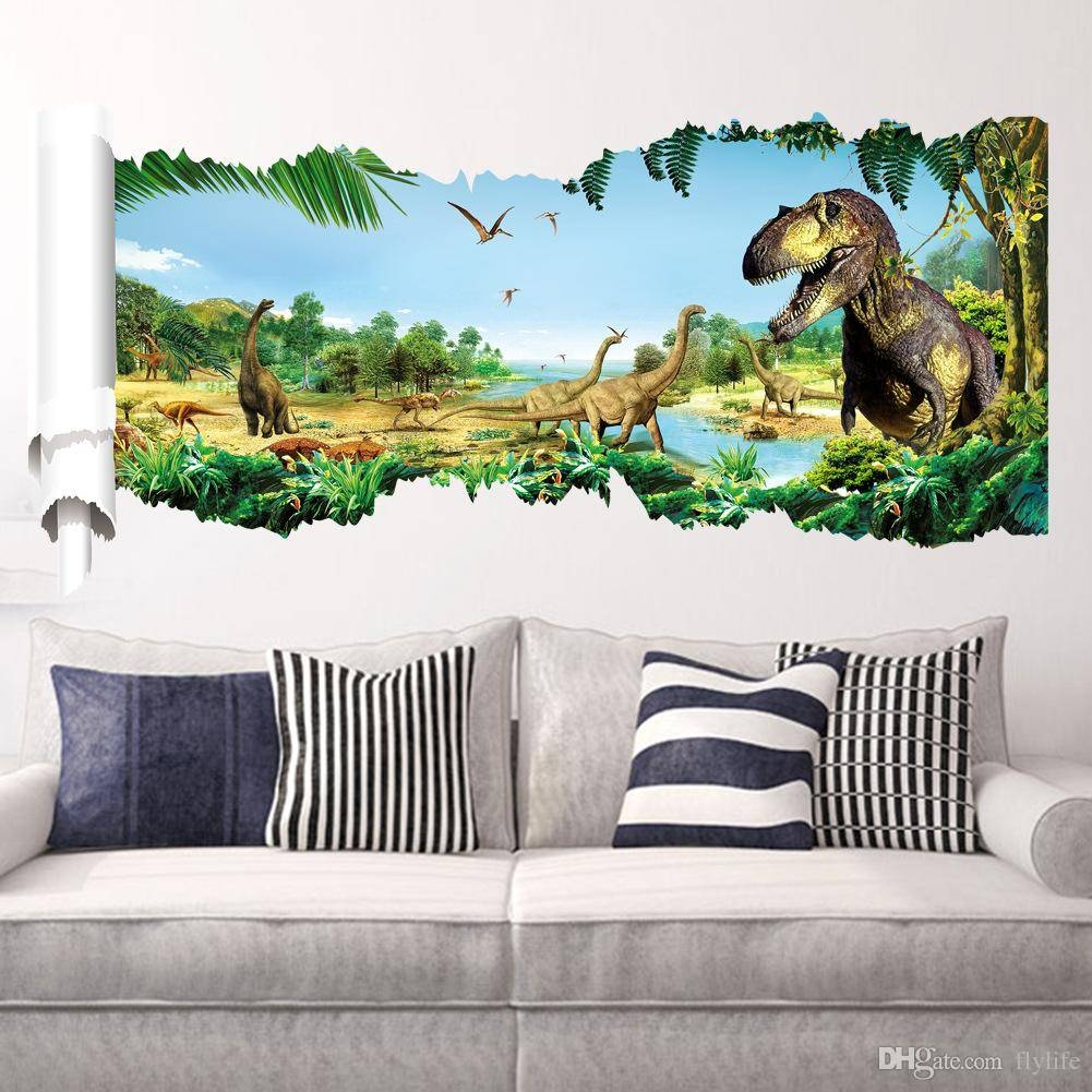 Cartoon 3D Dinosaur Wall Sticker For Boys Room Child Art Decor In Most Popular Dinosaur Wall Art For Kids (Gallery 3 of 20)
