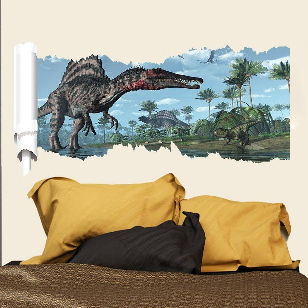 Cartoon 3d Dinosaur Wall Sticker For Boys Room Child Art Decor Regarding Most Popular 3d Dinosaur Wall Art Decor (View 9 of 20)
